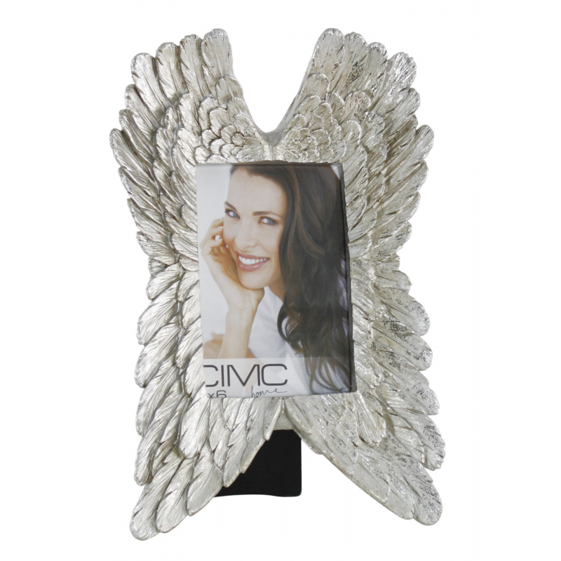 angel wings photo frame silver