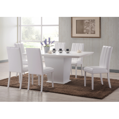 Feather White Dining Table + 6 Chair Set