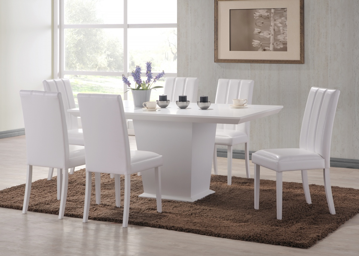 Feather white dining table 6 chair set forever furnishings
