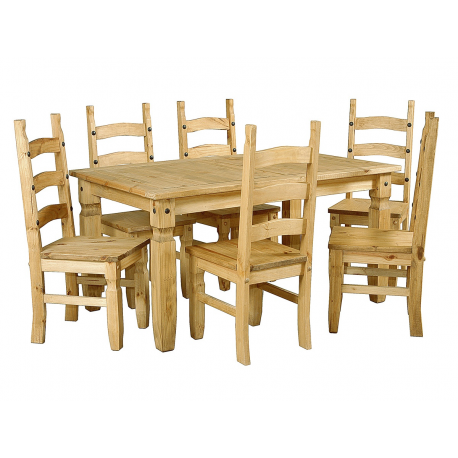 Corona Large Distressed Light Pine Dining Table + 6 Chairs