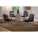 Delford Black Glass Dining Set with Plastic weave effect chairs