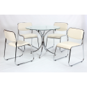 Orkney Round Glass Dining Set - Cream Chairs