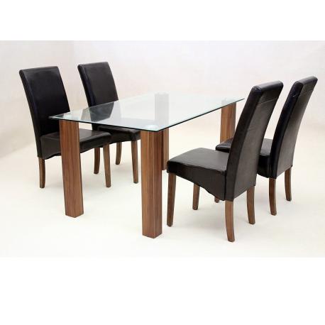 mirage oak clear glass dining set forever furnishings. Black Bedroom Furniture Sets. Home Design Ideas