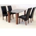 Mirage Black Glass Oak Dining Set