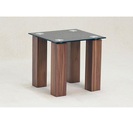 Mirage Black Glass Oak Side Table Forever Furnishings