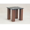 Mirage Black Glass Oak Side Table