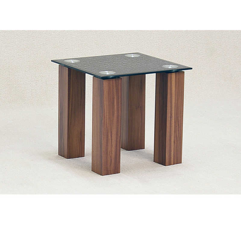 708 mirage black glass oak side table