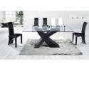 Arizona Black Cross Glass Dining Set- 6 Chair