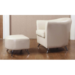 Teramo Cream Leather Armchair and Footstool