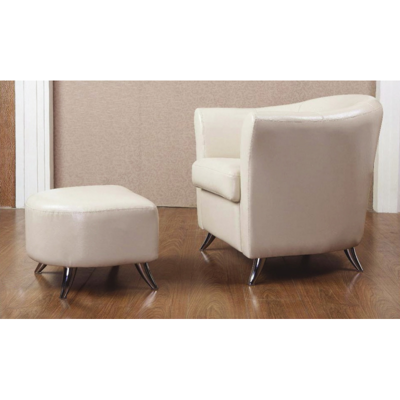 Teramo cream leather armchair and footstool forever for Cream armchair