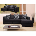 Rovigo Black Fabric Corner Sofa