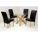 Saturn Solid Oak & Glass Round Dining Set