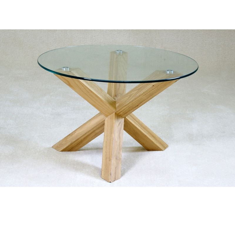 Saturn Solid Oak Glass Coffee Table Forever Furnishings
