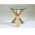 Saturn Solid Oak and Glass Side Table