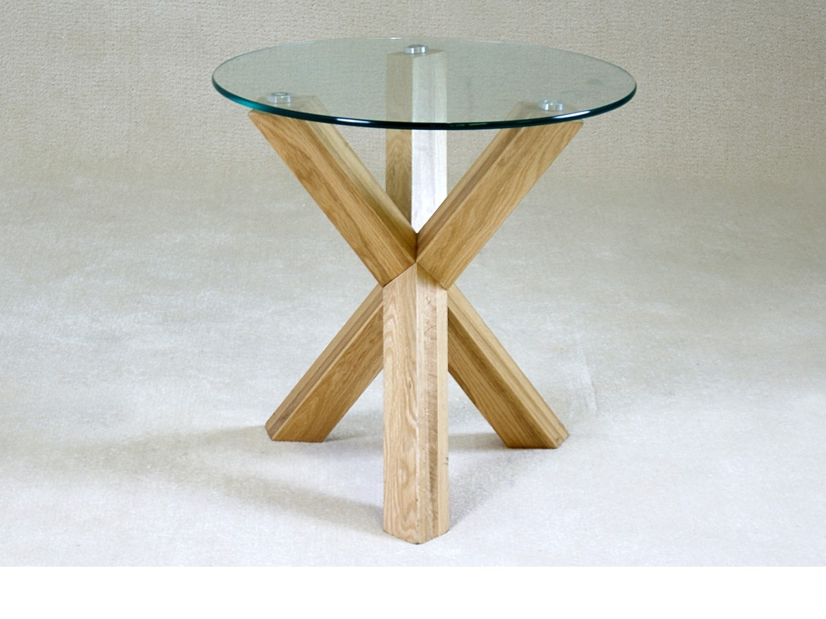 saturn solid oak and glass side table  forever furnishings -