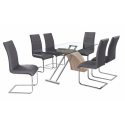 Chiswell Glass and Slate Grey Chair Dining Set