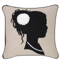 Beige and Black Silhouette Cushion