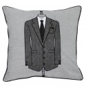 Grey Suit and Black Tie Funky Cushion